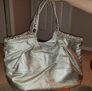 83d4ae734548 NWOT Christian Audugier gold ruffle tote
